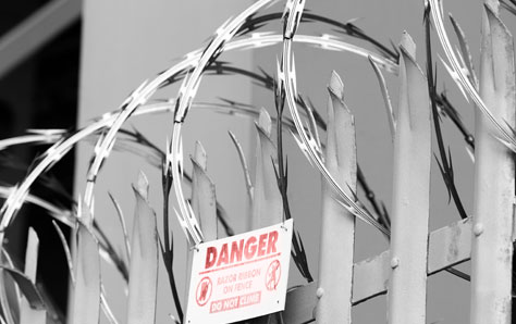 An image of razor wire on top of fence