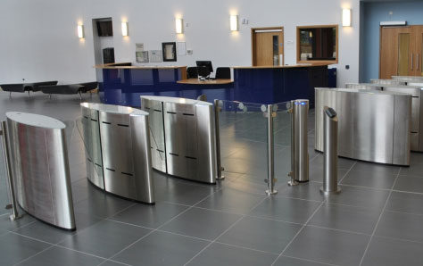 A picture of security turnstiles