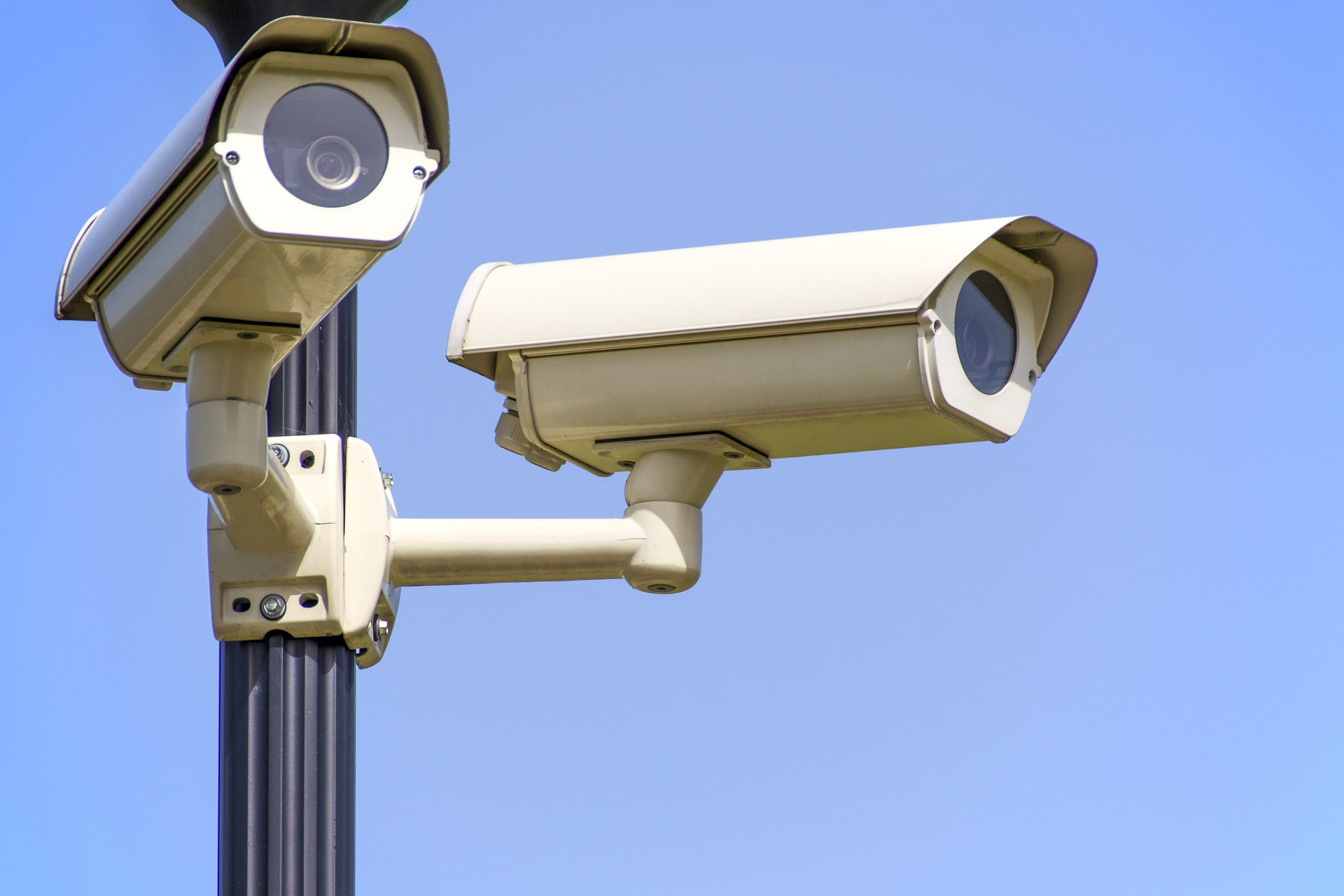 A picture of two CCTV cameras