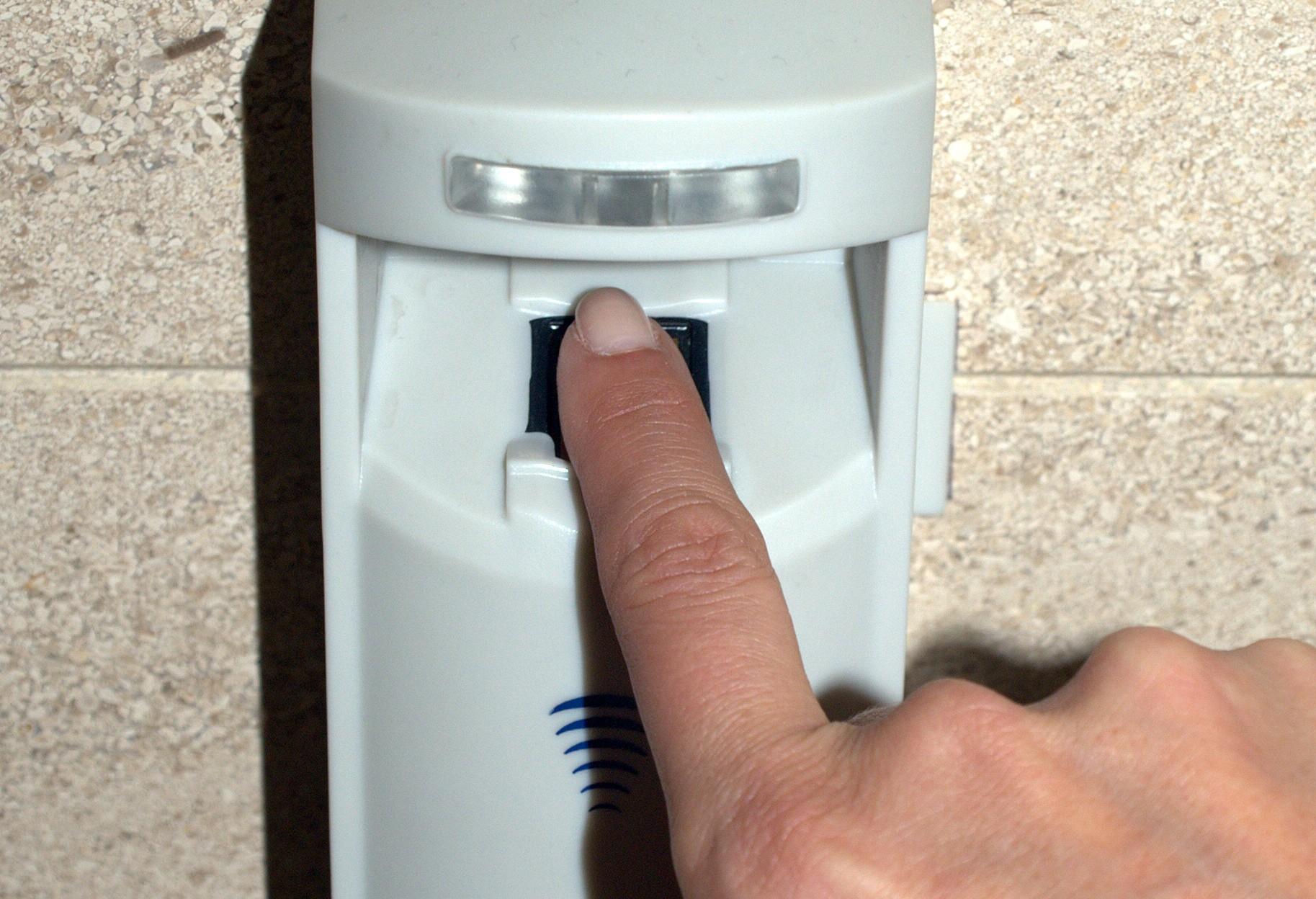A picture of a fingerprint scanner