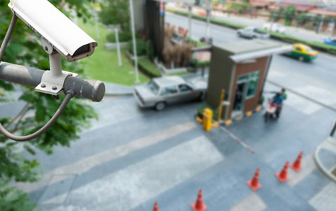 A picture of a CCTV camera covering outdoor area