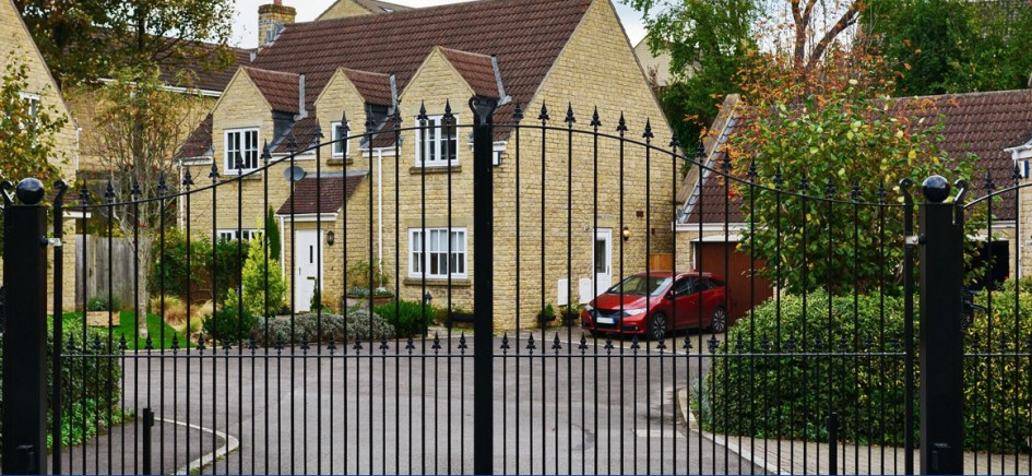 A picture of a gated property