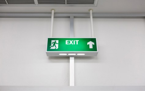 An image of a Fire exit light sign