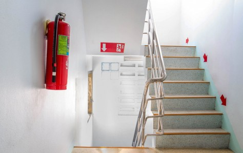 A picture of a stairwell fire escape in a modern building