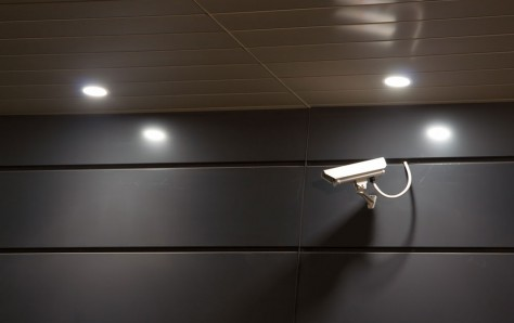 An image of a Security camera at night