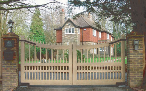 An image of a large wooden gate swing