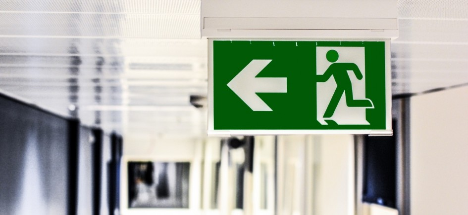 an image of a fire exit in an office as fire prevention