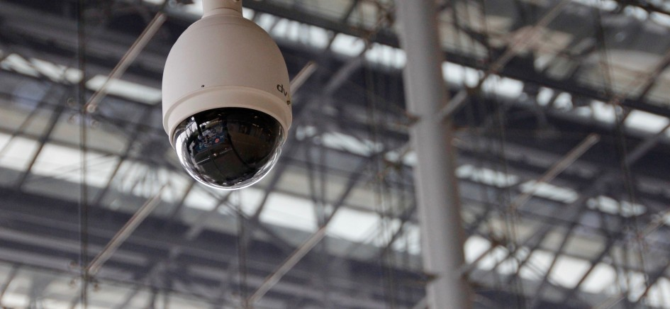 A picture of a CCTV camera in a building