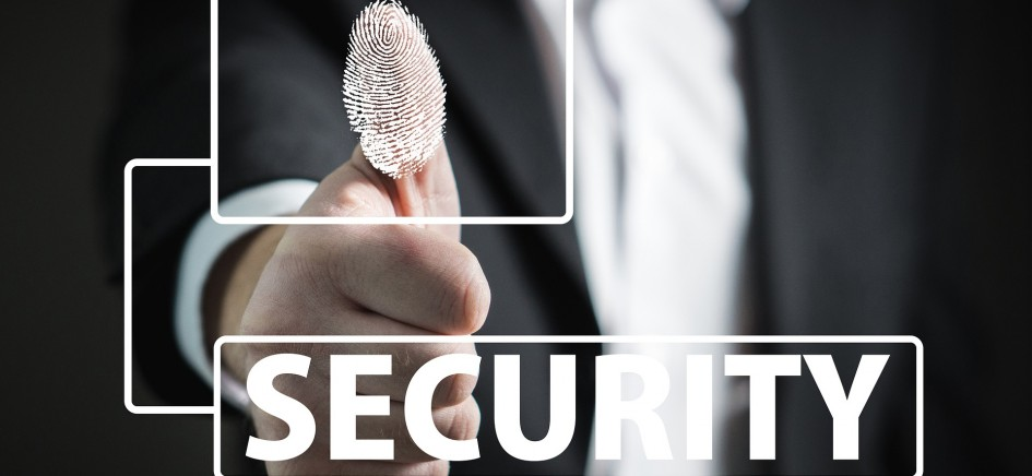 A picture of a fingerprint access with word security