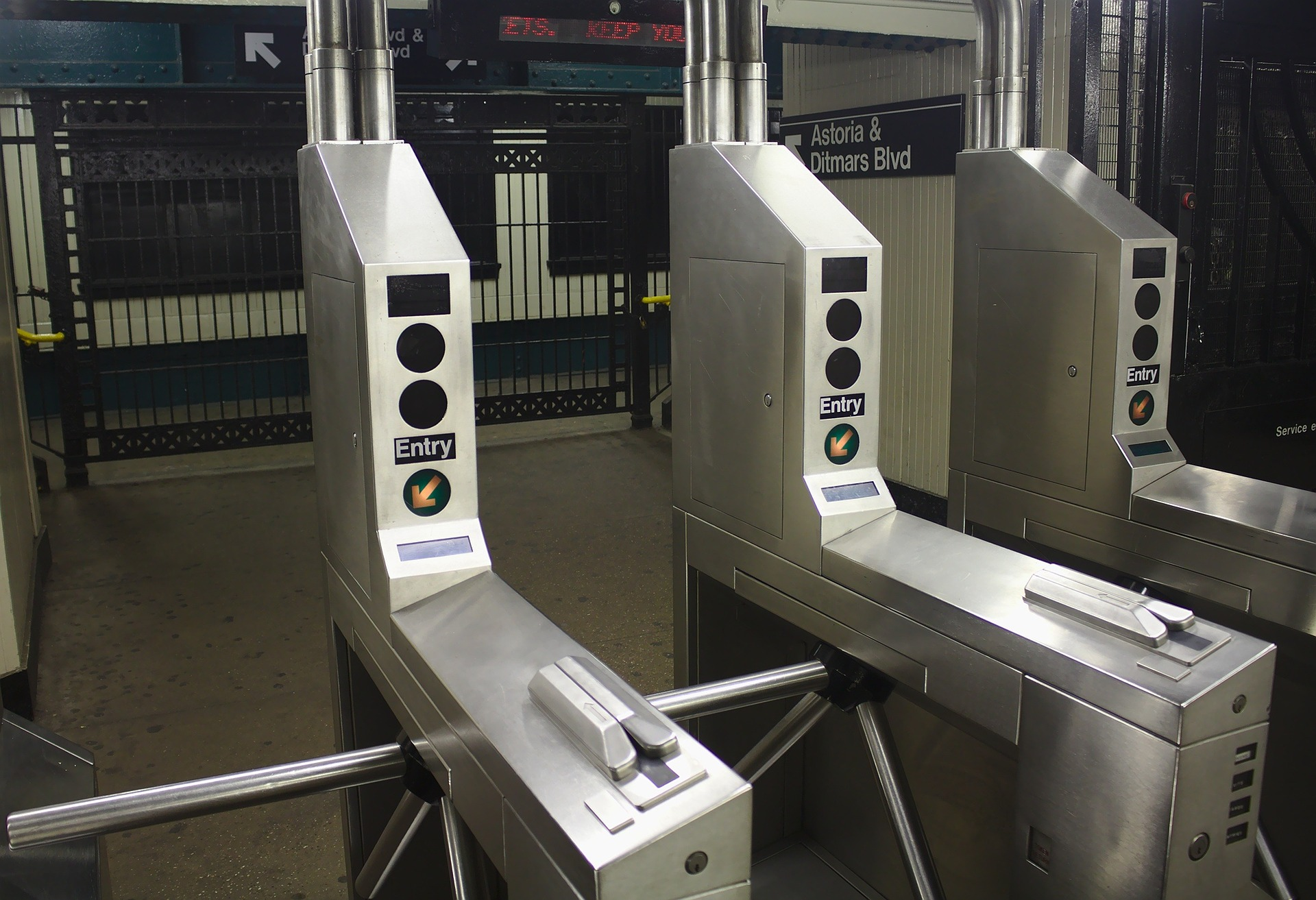 A picture of turnstiles