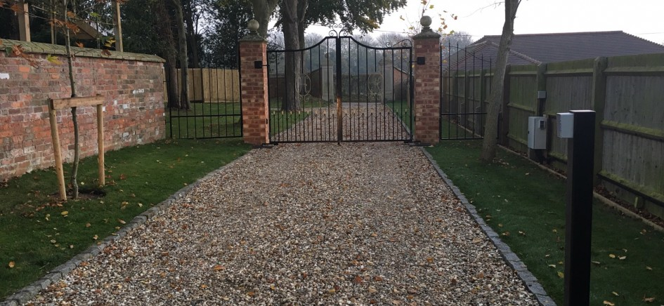 A picture of electric automatic gates installed by Matrix Fire & Security