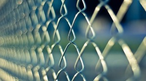 image of security fencing close up