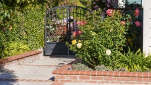 image of a gate protecting a house